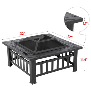 32'' Outdoor Square Fire Pit