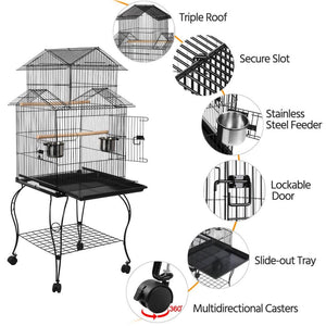 Yaheetech 55-inch Triple Roof Rolling Bird Cage