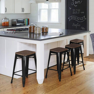 4pcs Metal Counter Bar Stools