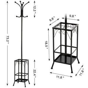 Metal Standing Coat Hat Rack