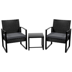Yaheetech Set of 3 Wicker Chairs & Table