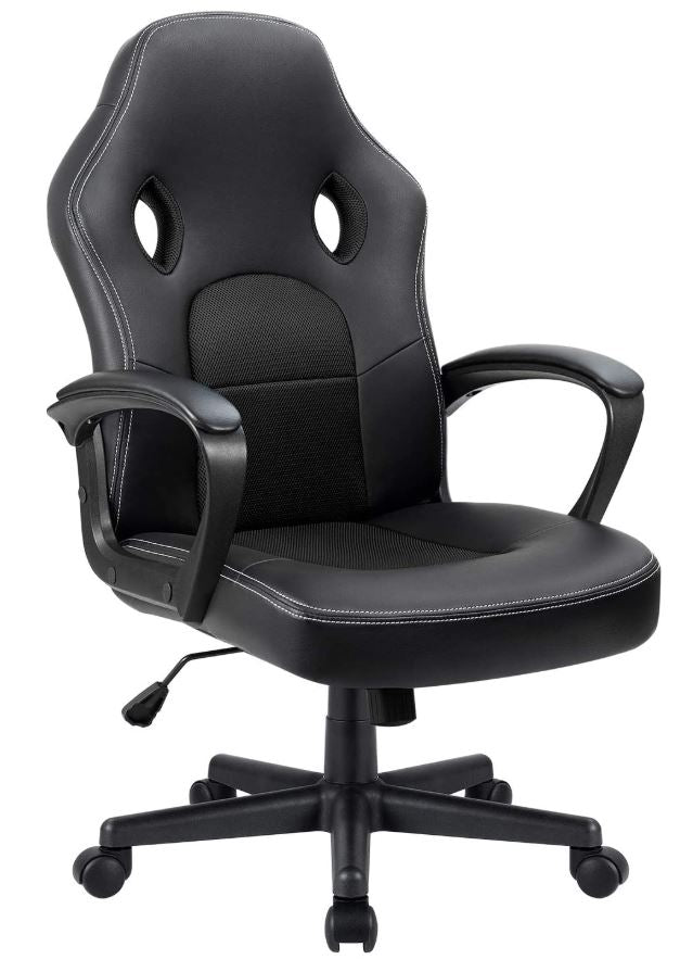 Office Chair Desk Leather w/ Lumbar Support for Ergonomic Home Computer Gaming