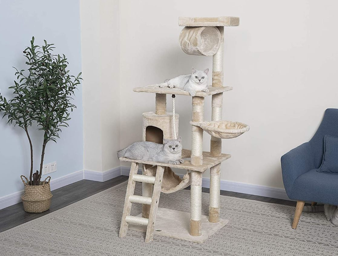 Pet Cat Tree, Kitten Claw Scratcher, Cat Climber Post, Large Toy 62-Inch