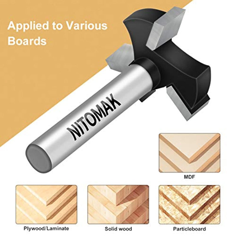 CNC Spoilboard Surfacing Router Bits, 1/4 inch Shank 1 inch Cutting Diameter, Slab Flattening Router Bit Planing Bit Wood Planing Bit Dado Planer Bit by NITOMAK (Carbide) - Red Frog Deals