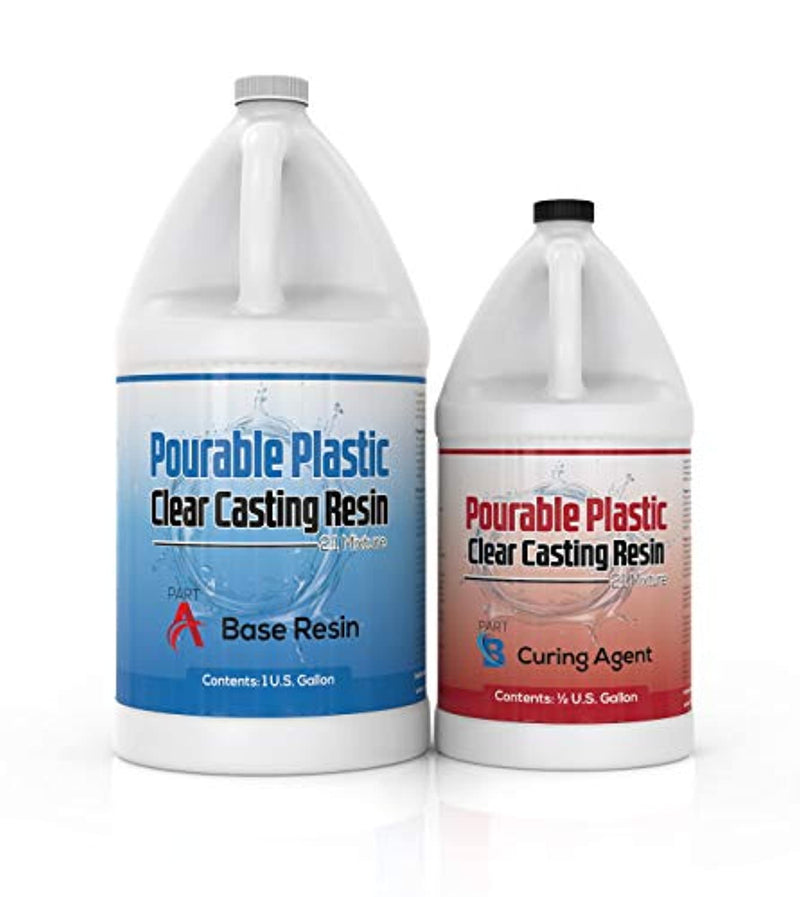 "Pourable Plastic Clear Casting Resin 1.5 Gallon Kit, Deep Pours Up to 2"" Thick For River Tables, Jewelry, Figurines - Red Frog Deals"
