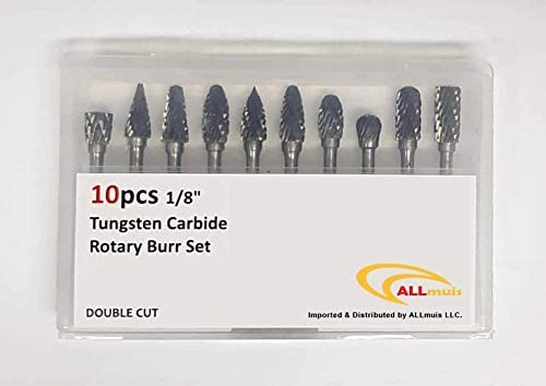 "Double Cut Carbide Rotary Burr Set - 10 Pcs 1/8"" Shank, 1/4"" Head Length Tungsten Steel for Woodworking,Drilling, Engraving, Polishing by ALLmuis - Red Frog Deals"