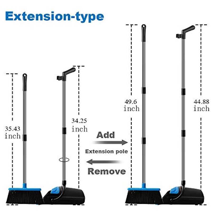 UDAODFA Premium Dustpan And Cleaning Broom Combination Of Stainless Steel Extra Long Handle Broom Is Easy To Clean And Assemble, Durable And Foldable For Home, Room, Office, Lobby Use (Black And Blue) - Red Frog Deals