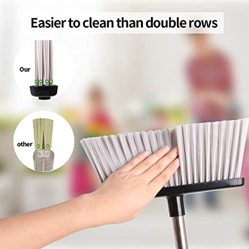 Broom and Dustpan Set Upright Dust Pan and Broom with Combo Self-Cleaning Dustpan Long Handle Stainless Steel Sweep Set for Home, Office, Kitchen, Lobby - Red Frog Deals