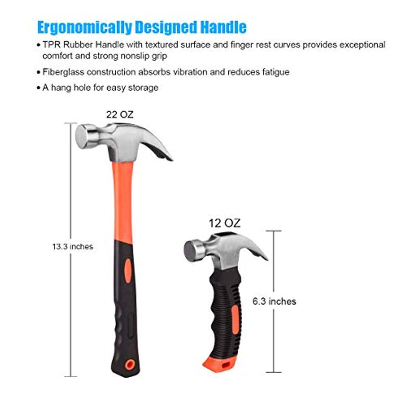 ZUZUAN 2 Piece Hammer Set includes 1 Pack 12 OZ Mini Stubby Claw Hammer and 1 Pack 22 OZ Fiberglass General Purpose Claw Hammer,Soft Nonslip Handle & Heat Treated Head,Heavier for Higher Hardness - Red Frog Deals