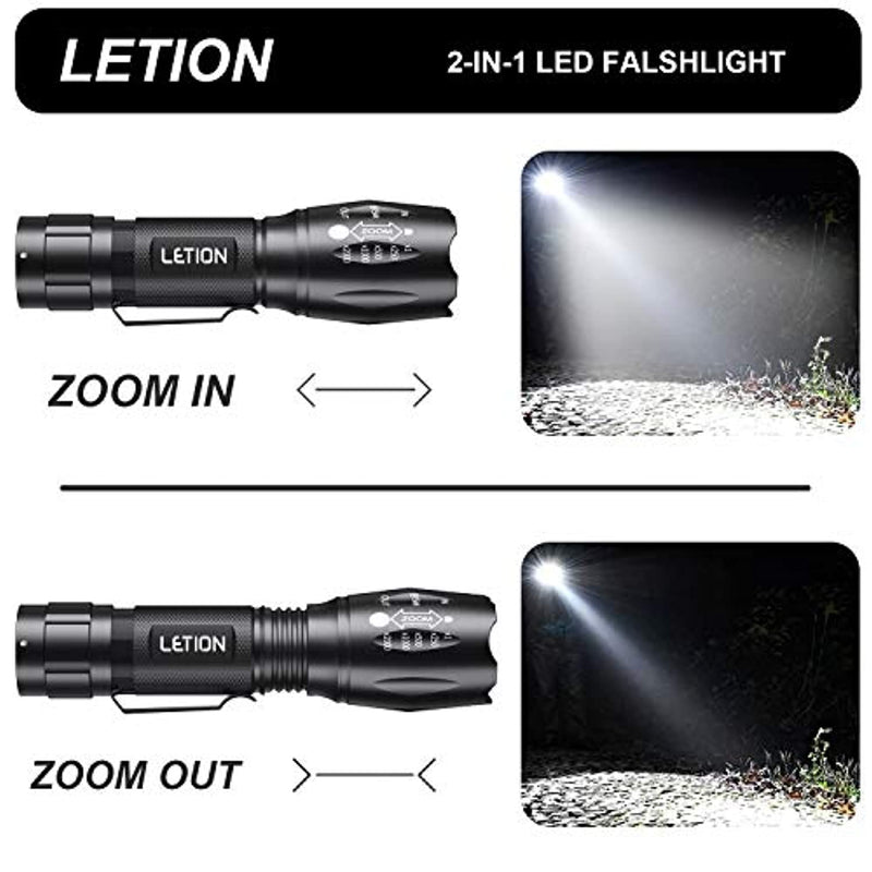 LETION UV Flashlight, LED UV Torch 2 in 1 UV Black Light with 500LM Highlight & 4 Mode & Waterproof for Pet Clothing Food Fungus Detection/Night Fishing/Travel - Red Frog Deals