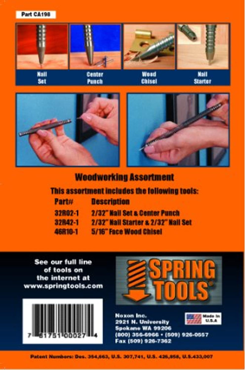 SpringTools CA198 3 Piece Woodworking Set with Nail Starter, Nail Set, Wood Chisel, Center Punch - Red Frog Deals