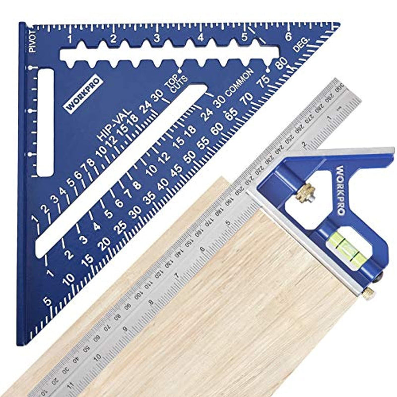 WORKPRO Rafter Square and Combination Square Tool Set, 7 IN. Aluminum Alloy Die-casting Carpenter Square and 12 Inch Zinc-alloy Die-casting Square Ruler Combo (Rafter Square Layout Tool) - Red Frog Deals