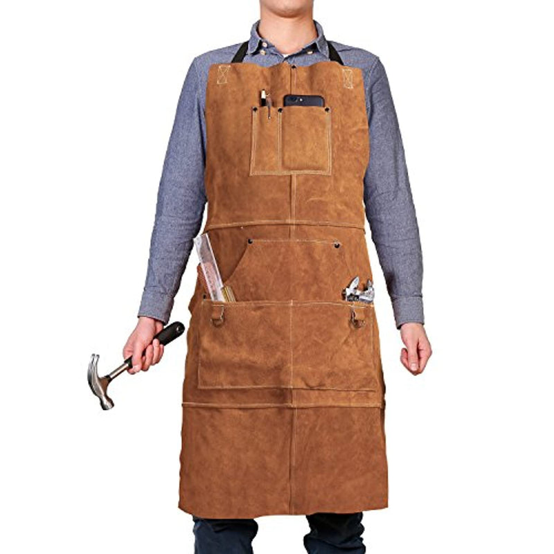 "QeeLink Leather Work Shop Apron with 6 Tool Pockets Heat & Flame Resistant Heavy Duty Welding Apron, 24"" x 36"", Adjustable M to XXL for Men & Women (Brown) - Red Frog Deals"