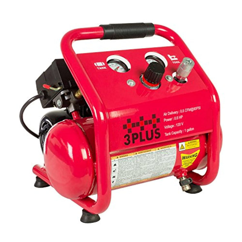 3PLUS HCB0504M02 1 Gallon Quiet Air Compressor, Portable, Oil-Free Air Compressor, w/11 Piece Accessory Kit Including Air Hose & Blow Gun - Red Frog Deals