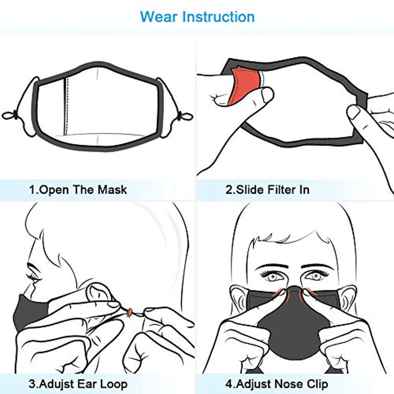 Sunsturm Dust Mask Reusable Cotton Face Mouth Mask with Activated Carbon Filter for Gardening Woodworking Mowing Outdoor Washable Mouth Mask (Color 1) - Red Frog Deals