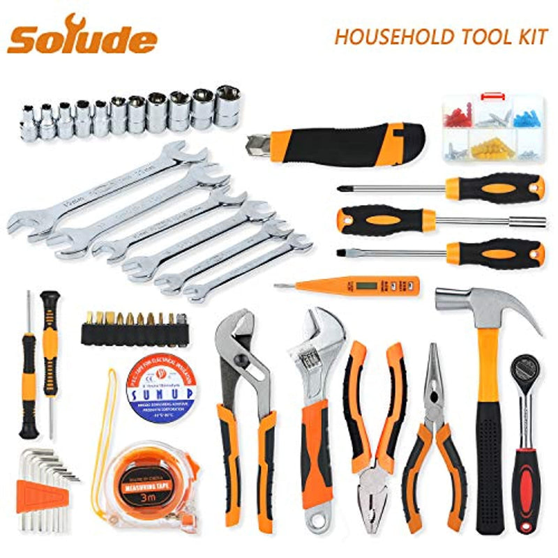 SOLUDE 95 Piece Household Repair Tool Set,General Home/Auto Hand Tool Kit with Plastic Toolbox Storage Case - Red Frog Deals