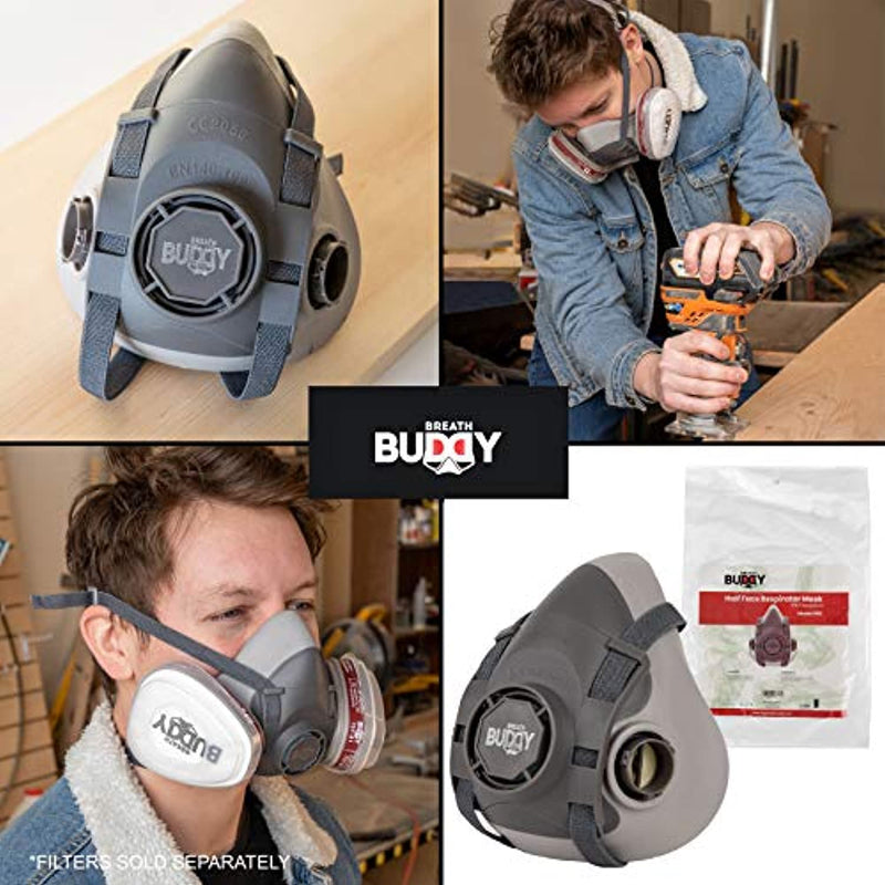Breath Buddy Half Face Respirator Mask | Reusable Professional Breathing Protection Against Dust, Particle, Woodworking and Organic Vapors & Fumes | Perfect For Painters and DIY Projects - Red Frog Deals