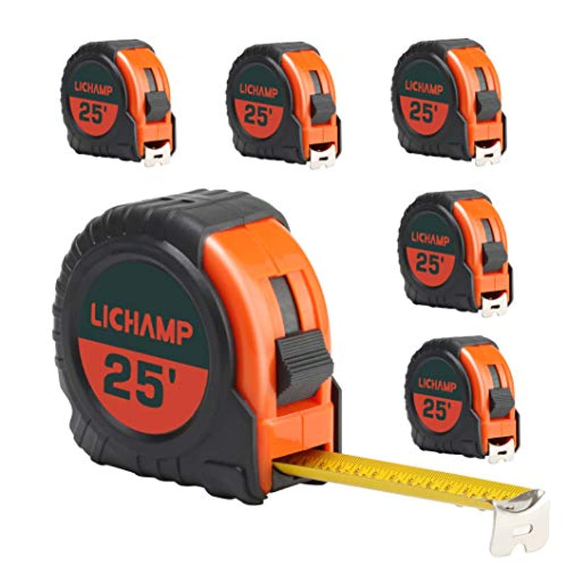 LICHAMP Tape Measure 25 ft, 6 Pack Bulk Easy Read Measuring Tape Retractable with Fractions 1/8, Measurement Tape 25-Foot by 1-Inch - Red Frog Deals