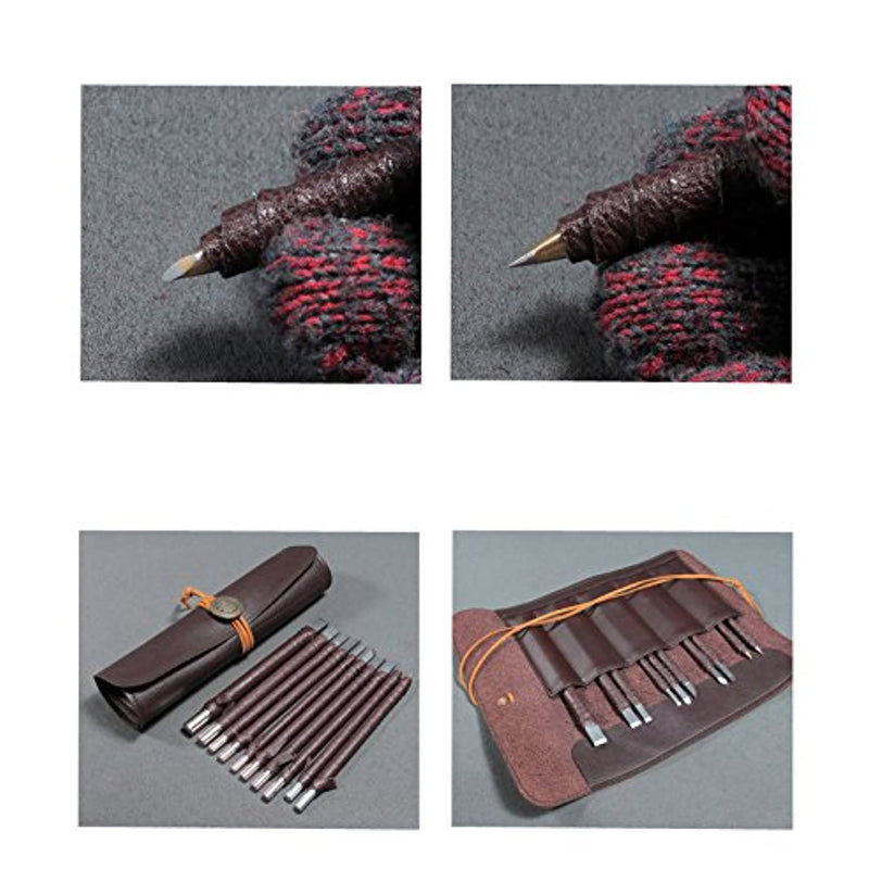 Wood Chisels Knife Set Tungsten Steel Wood Carving Tool Kit 10pcs Sharp Knives Bonus a Extra Portable Compact Leather Roll Storage Bag HKD05-US - Red Frog Deals