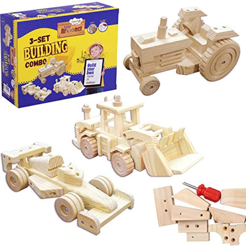 Kraftic Woodworking Building Kit for Kids and Adults, with 3 Educational DIY Carpentry Construction Wood Model Kit Toy Projects for Boys and Girls - Tractor, Bulldozer and F1 - Red Frog Deals