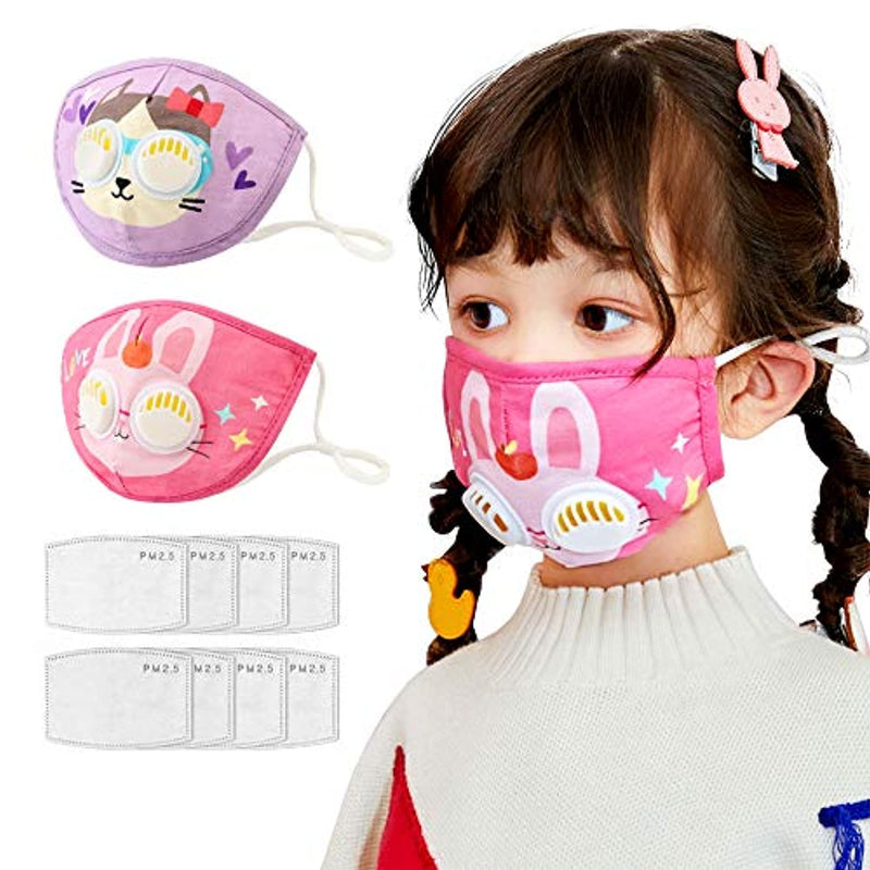 2 Pack Kids Mask with 2 Breathing Valve Reusable Cloth Face Mask with 8 Filter Adjustable Ear Loops for Children - Red Frog Deals