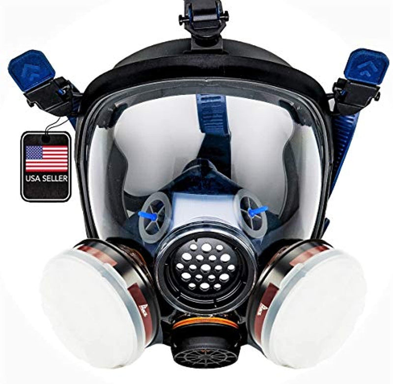 PT-100 Full Face Gas Mask & Organic Vapor Respirator- ASTM Tested - 1 Year Full Manufacturer Warranty - Eye Protection - Red Frog Deals
