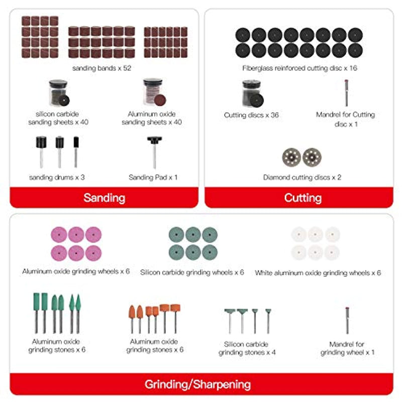 AVID POWER Rotary Tool Accessories Kit 276 Pieces, 1/8-inch Diameter Shanks Universal Fitment for Easy Cutting, Grinding, Sanding, Sharpening, Carving and Polishing - Red Frog Deals