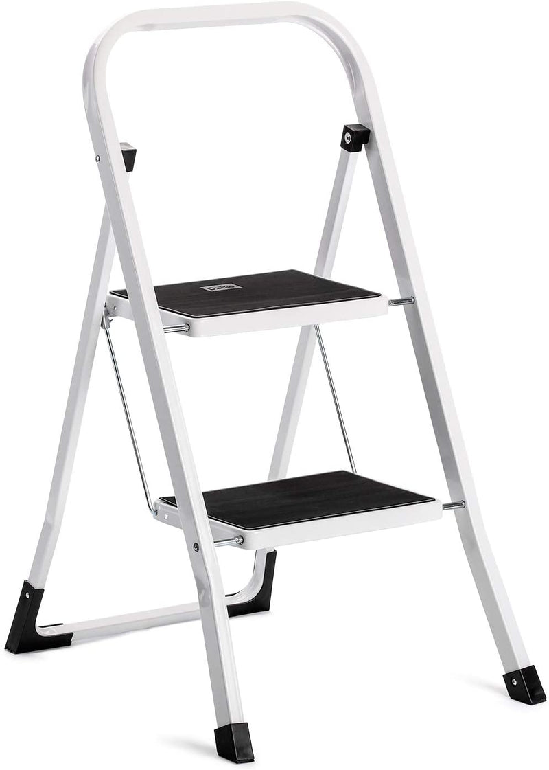 ACKO Folding 4 Step Ladder with Convenient Handgrip Anti-Slip Sturdy and Wide Pedal 300lbs Portable Steel Step Stool White and Black 4-Feet - Red Frog Deals