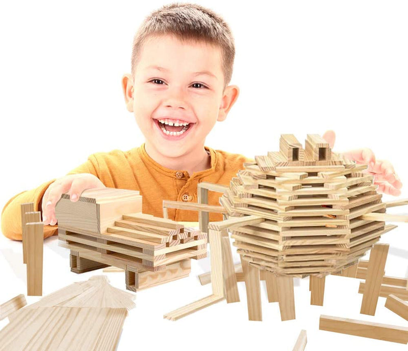 3 Bees & Me Wooden Building Toys - STEM Toys for Boys and Girls - 100 Wood Plank Pieces - Red Frog Deals