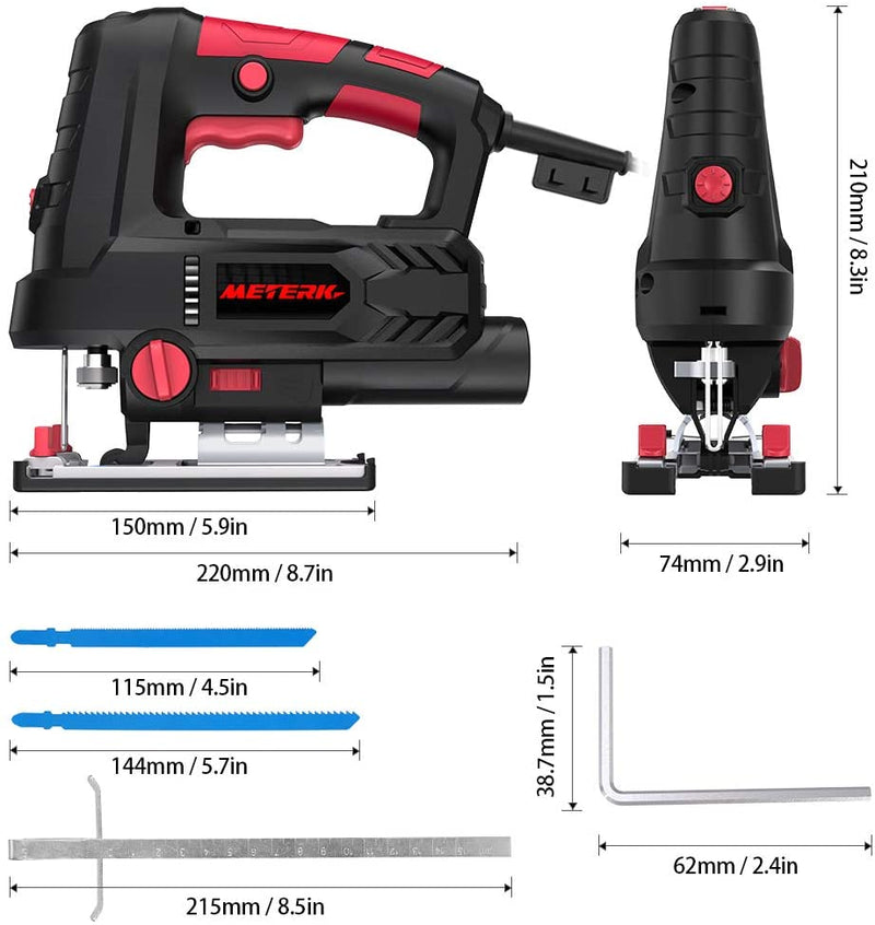 Jigsaw, Meterk Upgraded 800W 6.7 Amp 3000 SPM Jig Saw with Laser Guide & LED, 6 Variable Speed, 4PCS T-Shank Saw Blades, Scale Ruler, 78.74 Inches Cord, ±45°Bevel Cutting Angle - Red Frog Deals