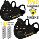 2 x FIGHTECH Dust Masks | Combo Kit with 10 Active Carbon Filters | 2 extra Ait Valves | Face MAsk for Pollution Pollen Allergy Woodworking Mowing | Washable and Reusable (Large, Black) - Red Frog Deals