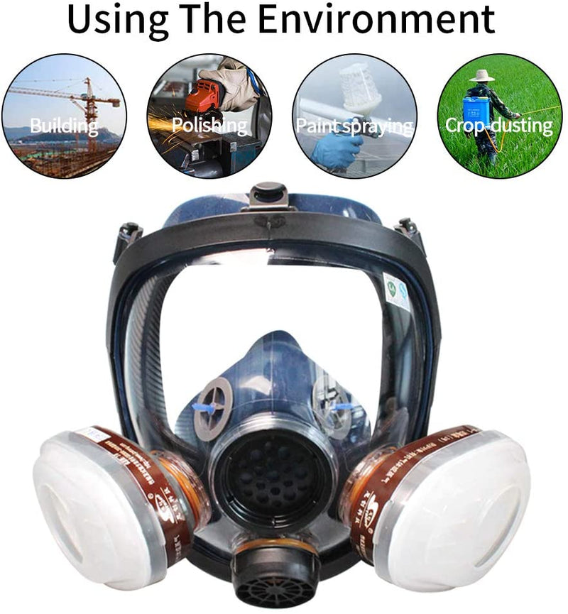 WORKCARE Full Facepiece Reusable Face Mask, Organic Vapor Respirators, Protection for Dust, Carving, Woodworking and other Substances - Red Frog Deals