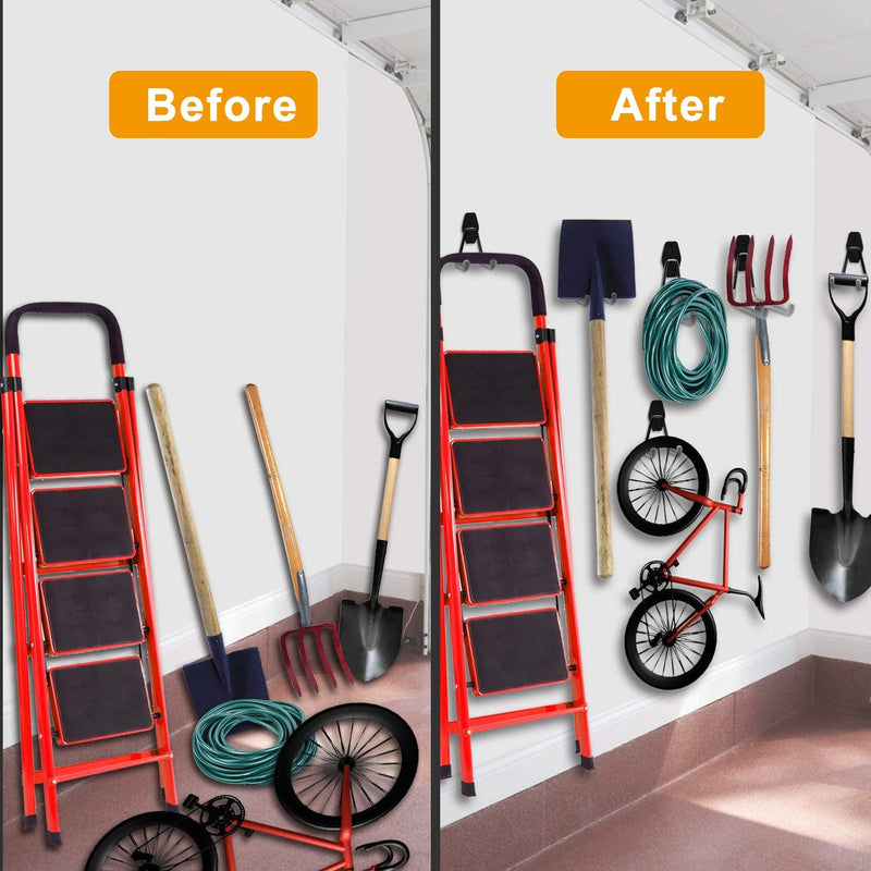 Garage Hooks, Inteli-topia Steel Garage Storage Hooks Utility Double Heavy Duty for Organizing Power Tools, Ladders, Bikes, Bulk Items, Pack of 10 - Red Frog Deals