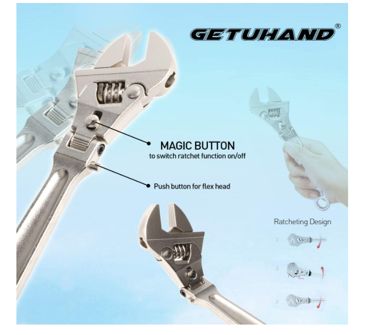 GETUHAND Flexhead Adjustable Wrench with 180 Degree Rotating Head
