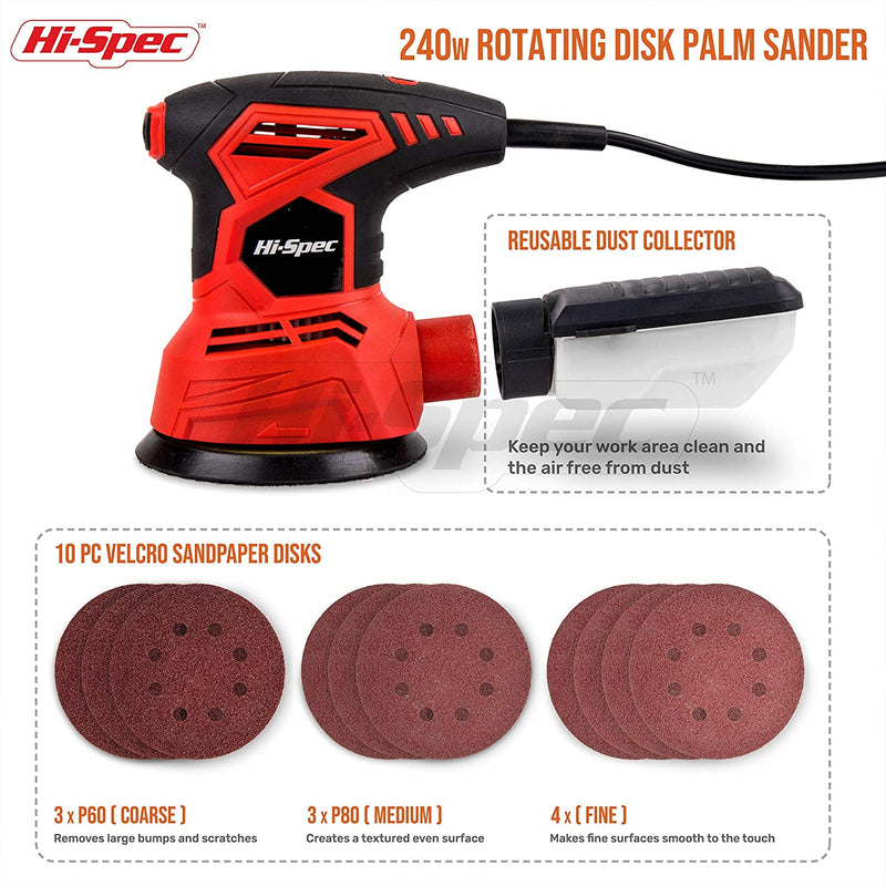Hi-Spec 2A 240W Random Orbital Disc Palm Sander & 10pc Sanding Papers for Removing Paint, Varnish, Stains, Preparing Furniture, Sanding Down & Finishing Wood - Red Frog Deals