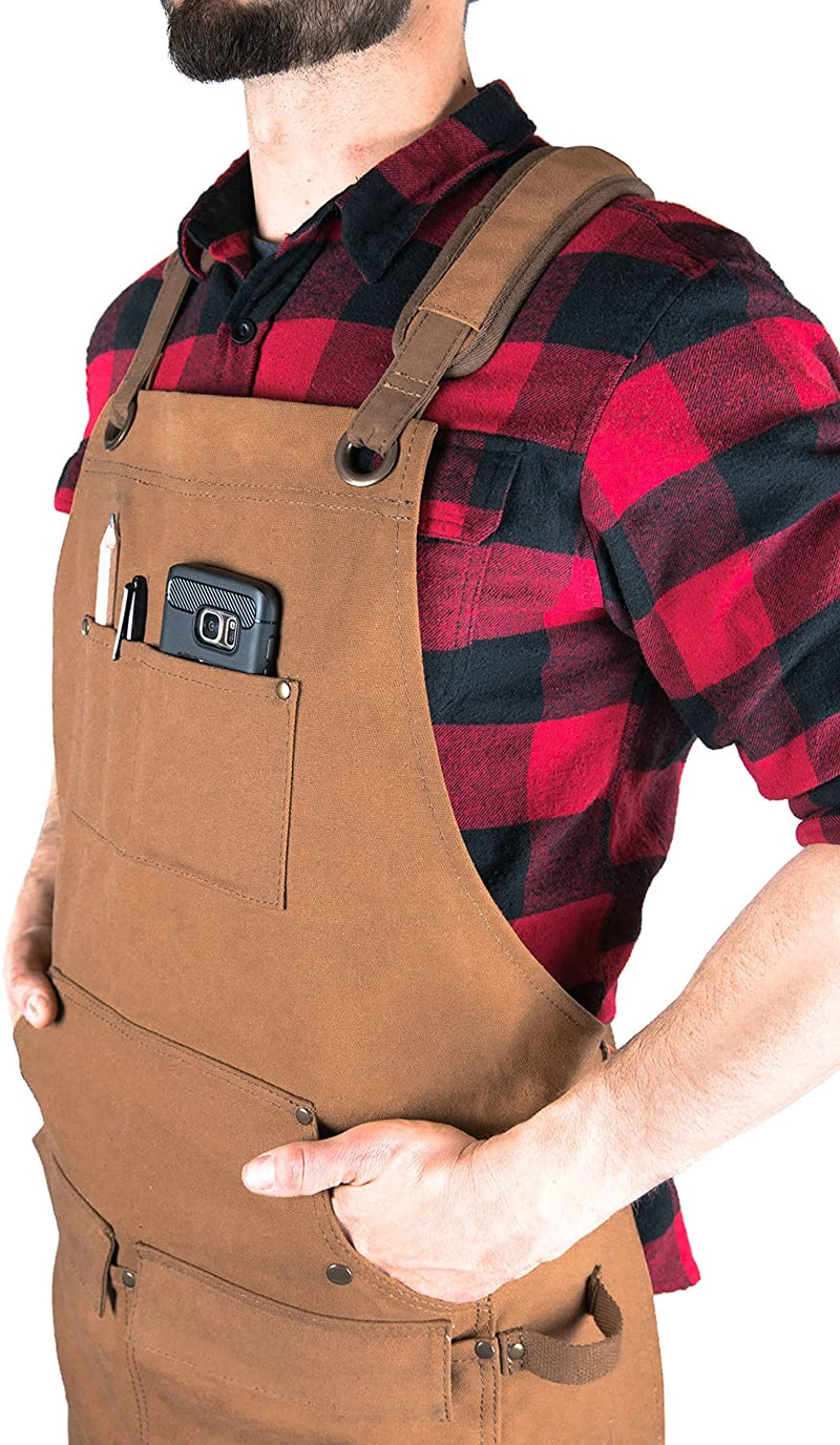 Hudson Durable Goods - Woodworking Edition - Waxed Canvas Apron - Brown - Red Frog Deals