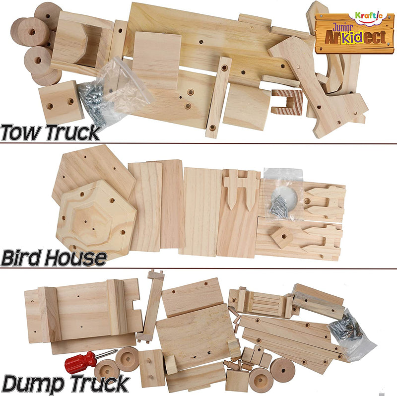 Kraftic Woodworking Building Kit for Kids and Adults, with 3 Educational DIY Carpentry Construction Wood Model Kit Toy Projects for Boys and Girls - Tow Truck, Birdhouse and Dump Truck - Red Frog Deals