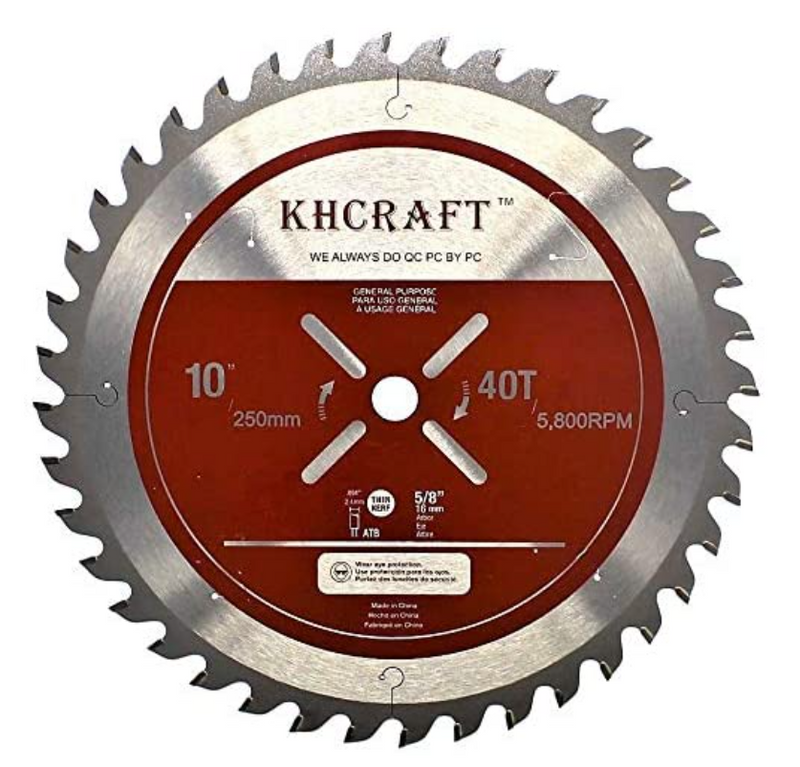 Laser-Cut Miter Saw Blade Table Saw Blade 10 Inch 40 Teeth ATB Thin Kerf 5/8 Inch Arbor General Purpose Precision Finishing for Woodworking - Red Frog Deals