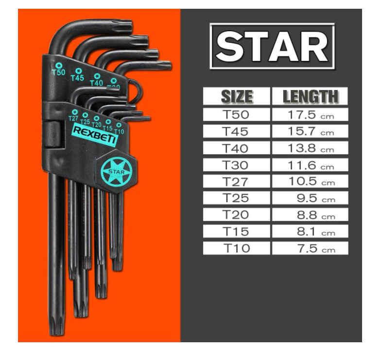 REXBETI Hex Key Allen Wrench Set + T-Handle