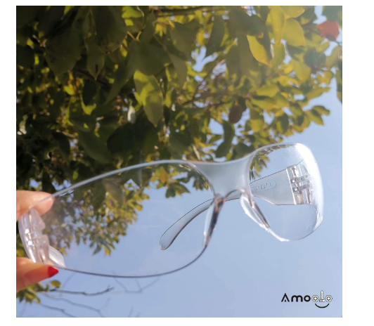 amoolo Safety Glasses, Impact and Scratch Resistant Crystal Clear Lens