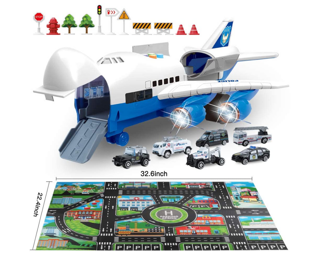 Educational Car Toy Set with Transport Cargo Airplane and Large Play Mat Mini for Children - Red Frog Deals