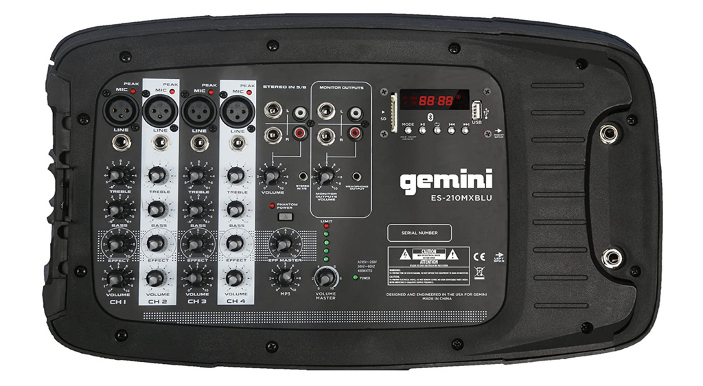 Gemini Bluetooth Speaker System ES-210MXBLU ST Portable PA With Mixer & 2 Stands - Red Frog Deals