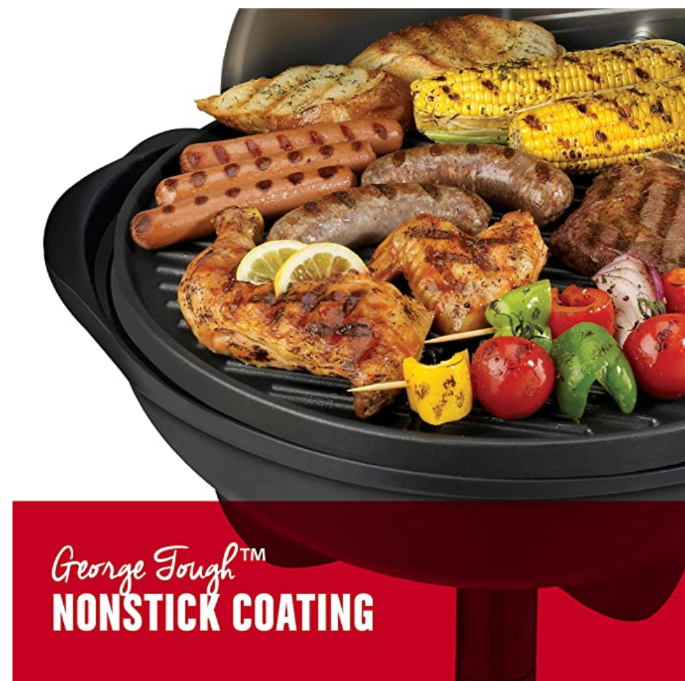 George Foreman Clean Electric BBQ Grill Indoor & Outdoor GGR50B 15-Serving - Silver - Red Frog Deals