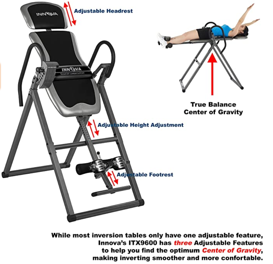Inversion Table w/Lumbar Support for Posture, Back, Sciatica Pain, 300lbs 7ft Upside Down - Red Frog Deals