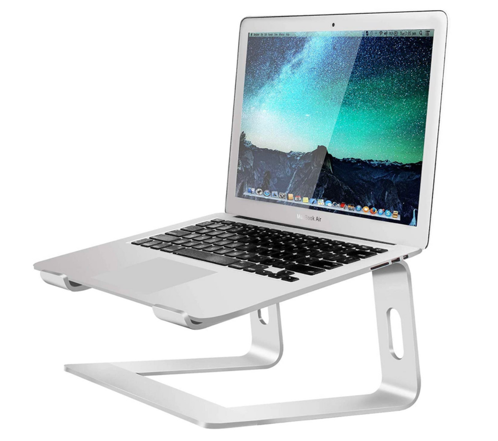 Silver Laptop Stand for Computer, Aluminum, Ergonomic, for MacBook Pro Air, PC (10-15.6 Inch) - Red Frog Deals