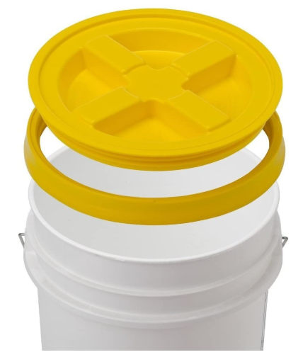 Sturdy White Bucket Yellow Gamma Seal Lid - Red Frog Deals