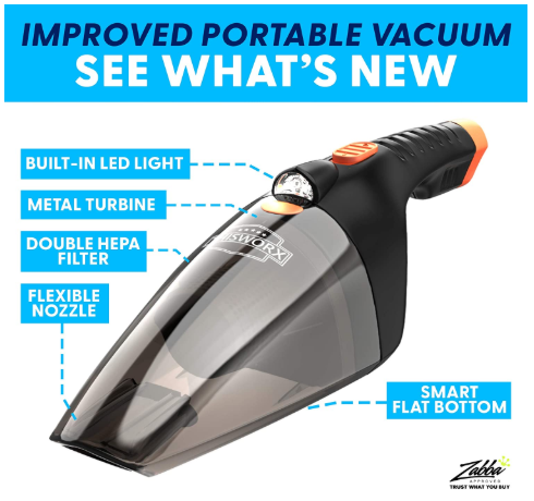 Portable Car Vacuum Cleaner: High Power Handheld Vacuum w/ LED Light - Red Frog Deals