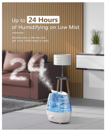 Cool Mist Humidifiers, 2.2L Quiet Ultrasonic for Bedroom, Blue - Red Frog Deals