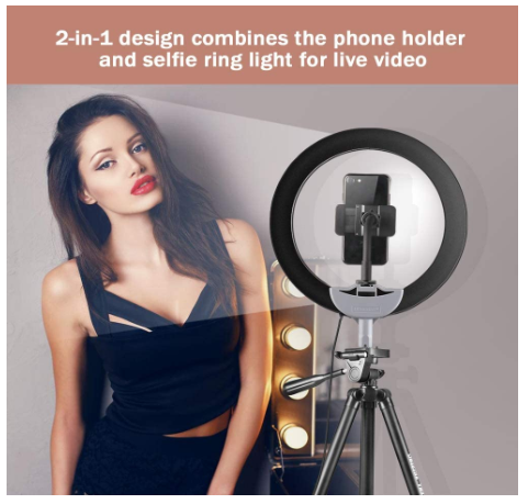 "10"" Selfie Ring Light with Extendable Tripod Stand Flexible Phone Holder for Live Stream - Red Frog Deals"