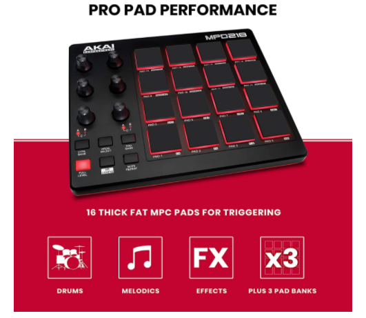 Professional 16-Pad USB MIDI Controller With MPC Pads